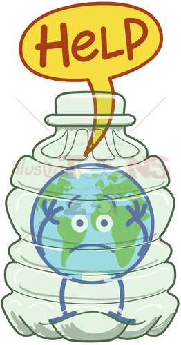 Planet Earth trapped inside a plastic bottle asking for help - illustratoons