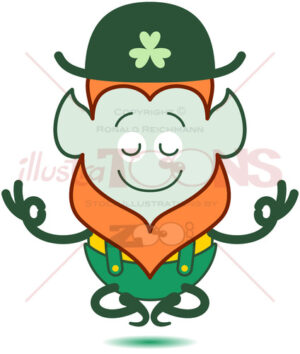 Saint Patrick's Day Leprechaun meditating - illustratoons