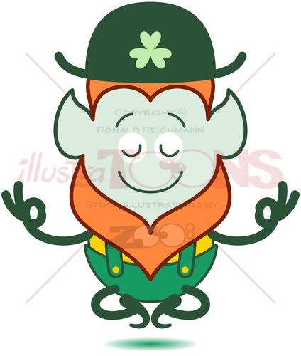 Saint Patrick's Day Leprechaun meditating - illustratoons
