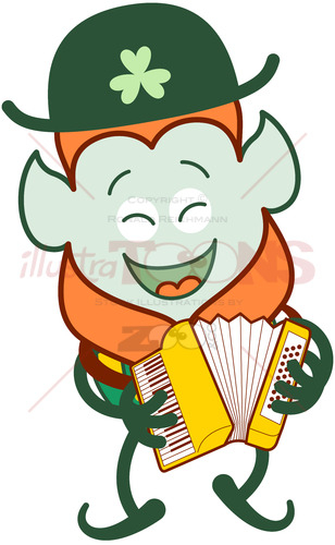 Saint Patrick's Day Leprechaun playing accordion - illustratoons