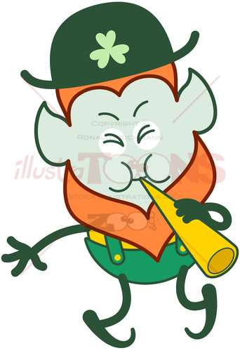 Saint Patrick's Day Leprechaun playing cornet - illustratoons
