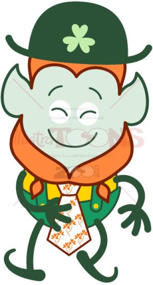 St Paddy's Day Leprechaun wearing an elegant clover tie - illustratoons