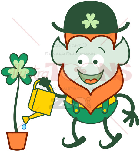 St Patrick's Day Leprechaun watering clover - illustratoons