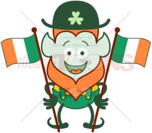 St Patrick's Day Leprechaun waving Irish flags - illustratoons