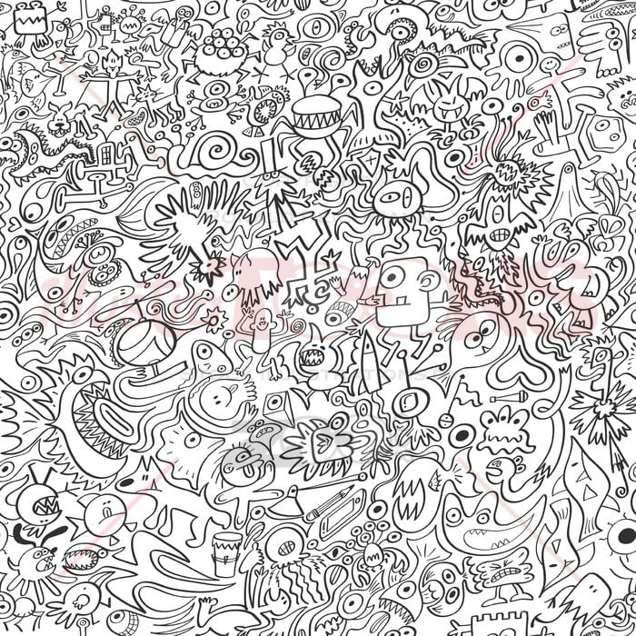 A bunch of doodles squeezed into a pattern - illustratoons
