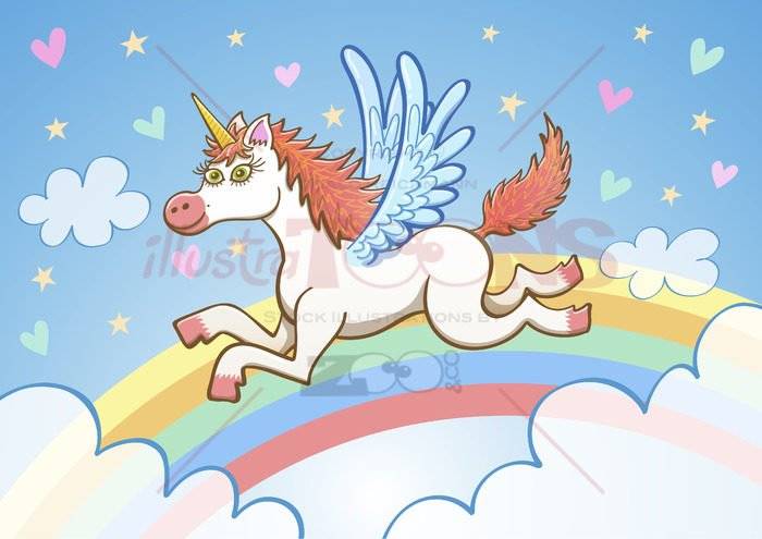 Beautiful white unicorn flying among clouds and rainbow - illustratoons