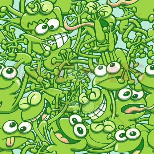 Funny green frogs tangled in a seamless pattern - illustratoons