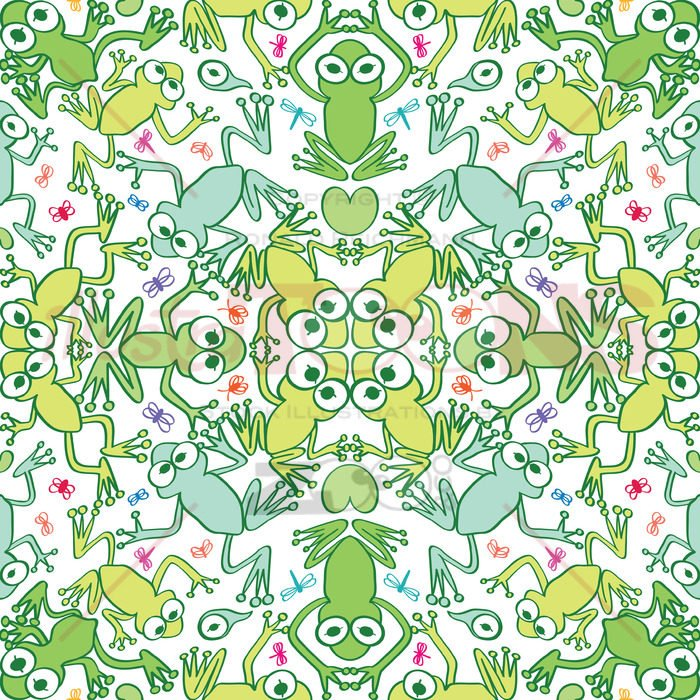 Green frogs in a decorative seamless pattern - illustratoons