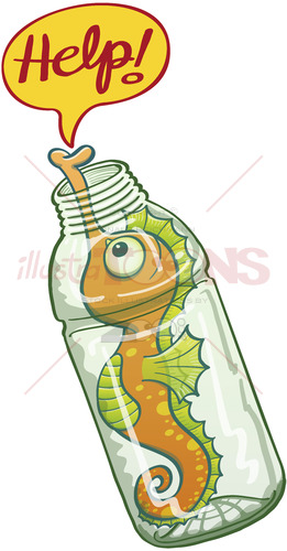 Seahorse trapped in a plastic bottle asking for help - illustratoons