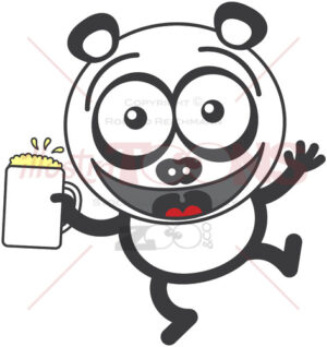 Cool panda bear celebrating with a mug of beer - illustratoons