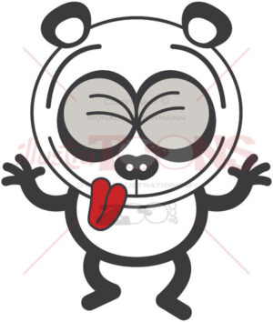 Cool panda bear having fun making funny faces - illustratoons