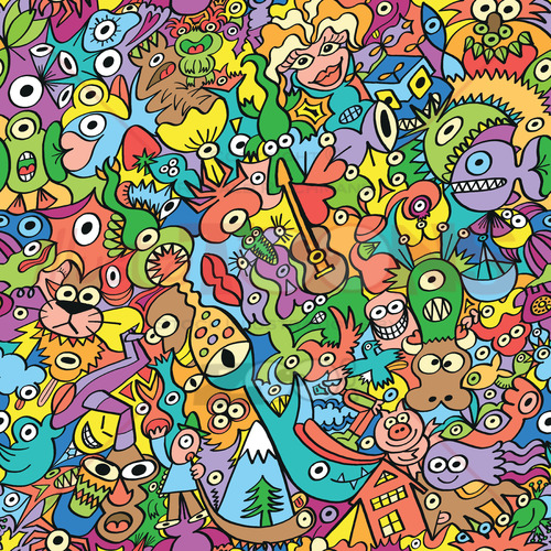 Almost everything in a colorful scene pattern design - illustratoons