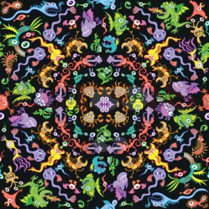 Colorful pattern design full of monsters and weird creatures - illustratoons