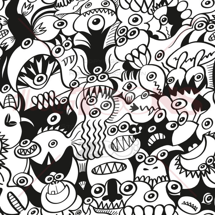 Crazy doodles in a funny seamless pattern design - illustratoons