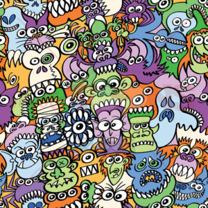 Halloween creatures get crazy in this pattern design - illustratoons