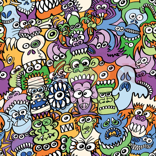 Halloween creatures get crazy in this pattern design - illustratoons