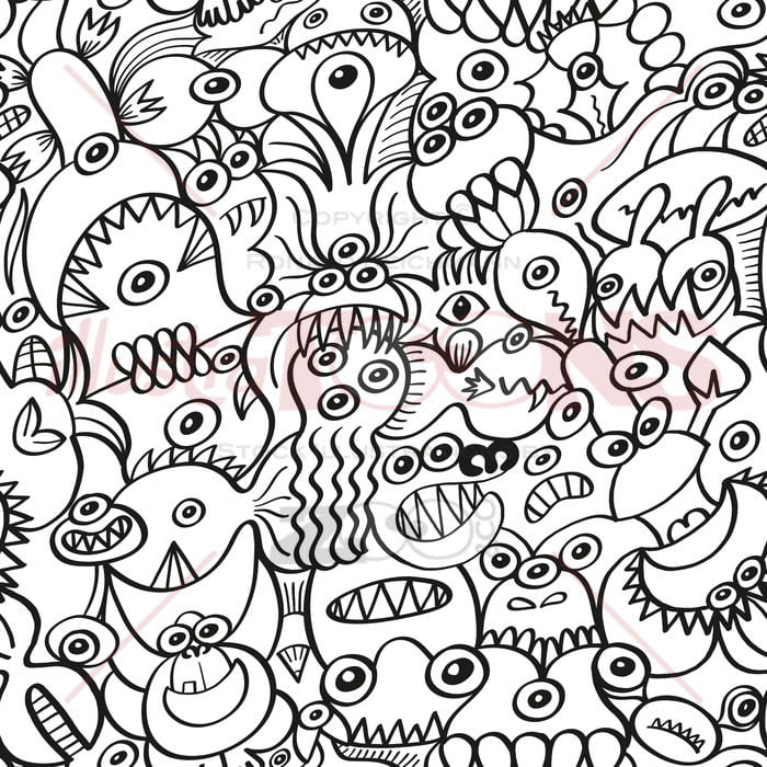 Messy doodles in a crazy surface pattern design - illustratoons