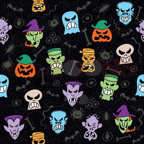 Pattern design showing mischievous Halloween characters - illustratoons