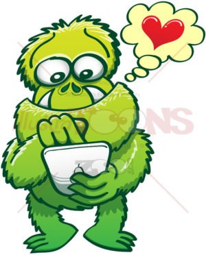 Ugly monster looking for the love of his life on the Internet - illustratoons