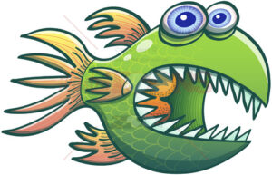 Wary green fish opening its mouth and showing sharp teeth - illustratoons