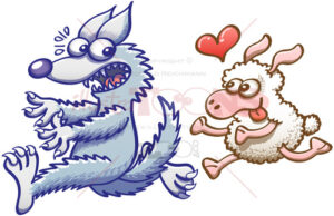 Ewe in love running after a terrified wolf - illustratoons