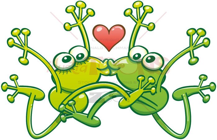 Frogs kissing passionately in the middle of a big jump - illustratoons