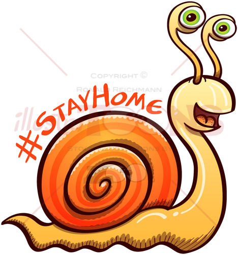 Cool snail invitation to keep safe by staying at home - illustratoons