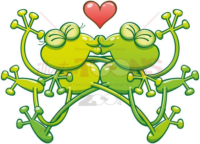 Couple of green frogs in love kissing passionately - illustratoons