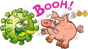 Evil green virus giving a big fright to a piggy bank - illustratoons