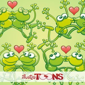 Green frogs in love kissing passionately collection