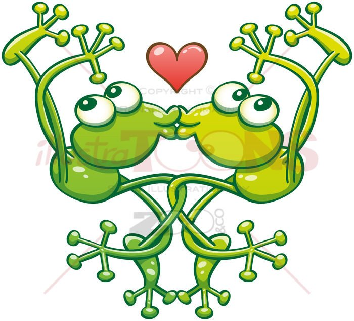 Green frogs kissing and falling in love - illustratoons