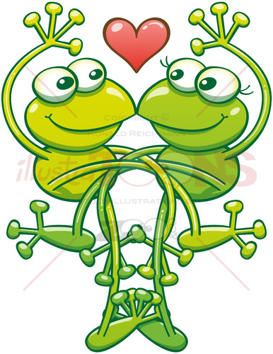 Intertwined frogs flirting and madly falling in love - illustratoons