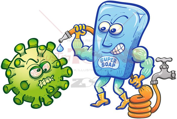 Soap superhero facing Coronavirus with a hose full of water - illustratoons