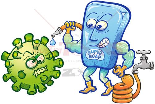 Soap superhero facing Coronavirus with a hose full of water - illustratoons