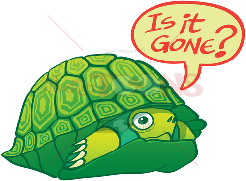 Green turtle wondering if the threat is already gone - illustratoons
