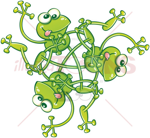 Green frogs waving and having fun in a rotative pattern - illustratoons