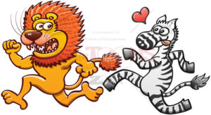 Scared lion running away from a crazy zebra in love - illustratoons