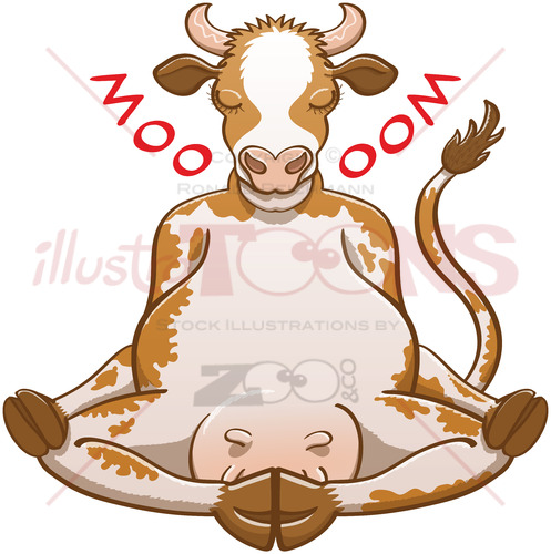 Happy cow doing meditation and changing its moo into an oom - illustratoons