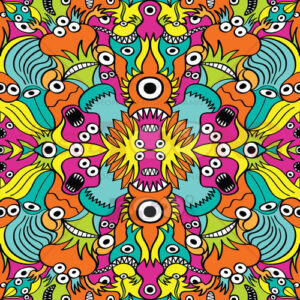 Colorful weird critters in a pattern design - illustratoons