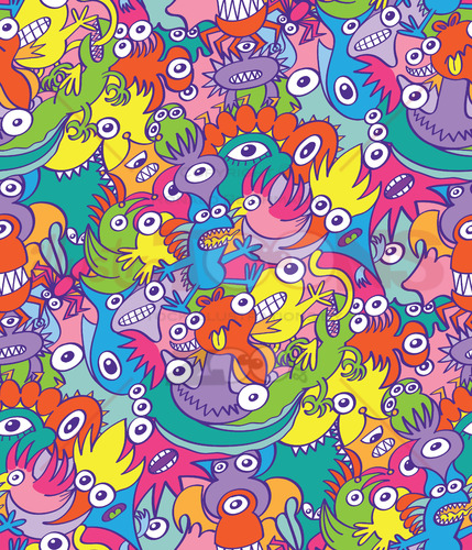 Colorful monsters in doodle art style as a pattern design - illustratoons