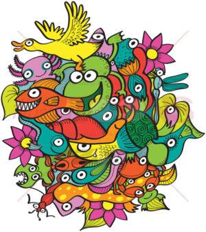 Funny aquatic animals living in a multicolor pond - illustratoons