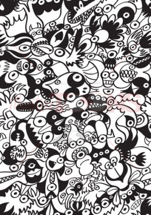 Monstrous doodles in a scary black and white pattern design - illustratoons