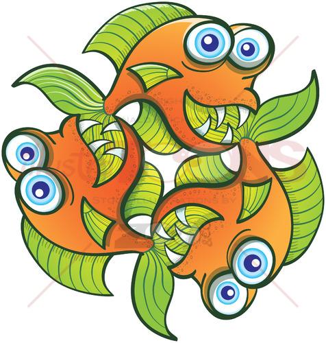 Three funny goldfish forming a rotative pattern design - illustratoons
