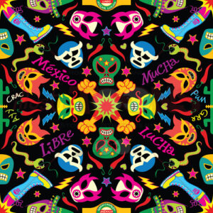 7 Mexican wrestling masks in a colorful pattern design - illustratoons