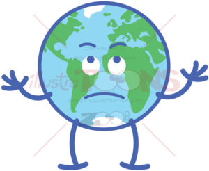 Cute planet Earth rolling eyes and feeling mad - illustratoons