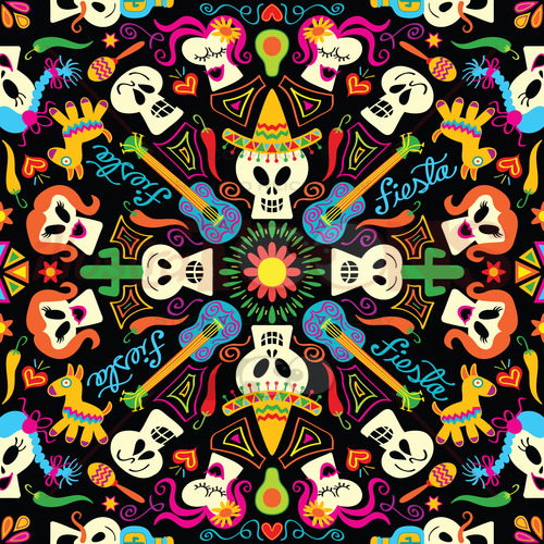 Mexican skulls and symbols to celebrate the Day of the Dead - illustratoons
