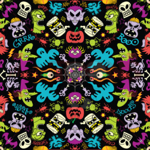 15 spooky monsters in a colorful Halloween pattern design - illustratoons