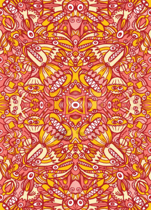 1000 red monsters in cool pattern design - illustratoons