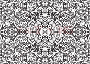 Doodle Art in a crazy pattern design - illustratoons
