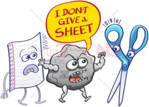 Angry rock saying I don't give a sheet to evil scissors - illustratoons